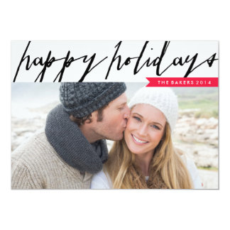 "Modern Holiday Script Holiday Photo Card 5"" X 7"" Invitation Card"