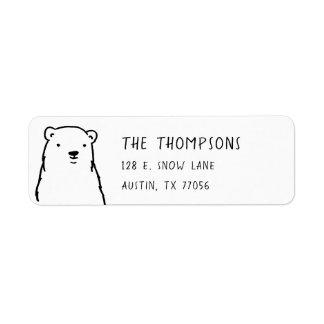 Modern Holidays Winter Polar Bear Return Address