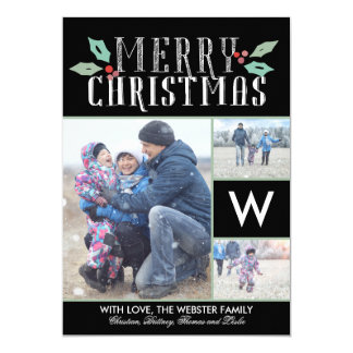 Modern Hollies Monogram 3 Photo Christmas Card
