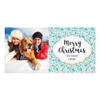 Modern Holly Berries Christmas Photo Card