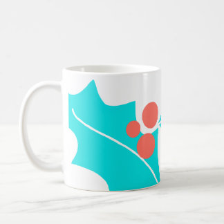 Modern Holly Berry Mug Turquoise and Coral