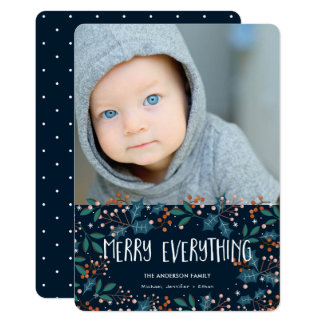 Modern Holly Merry Everything Photo Christmas Card