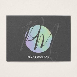 Modern Holographic Circle Monogram - Business Card