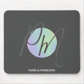 Modern Holographic Circle Monogram - Mousepad