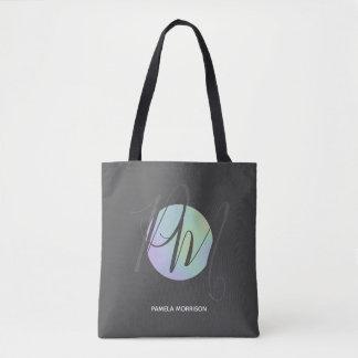 Modern Holographic Circle Monogram - Tote Bag