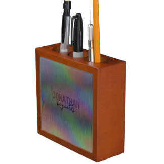 Modern Holographic Metal Name - Desk Organizer