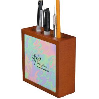 Modern Holographic Rainbow Pastel Desk Organizer