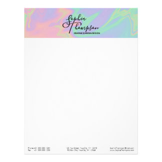 Modern Holographic Rainbow Pastel - Letterhead