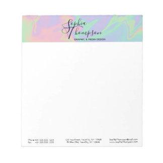 Modern Holographic Script Rainbow Pastel - Notepad