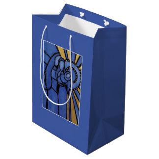 Modern Holy Family Blue Christmas Nativity Medium Gift Bag
