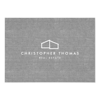 Modern Home Logo on Linen Flat Notecard
