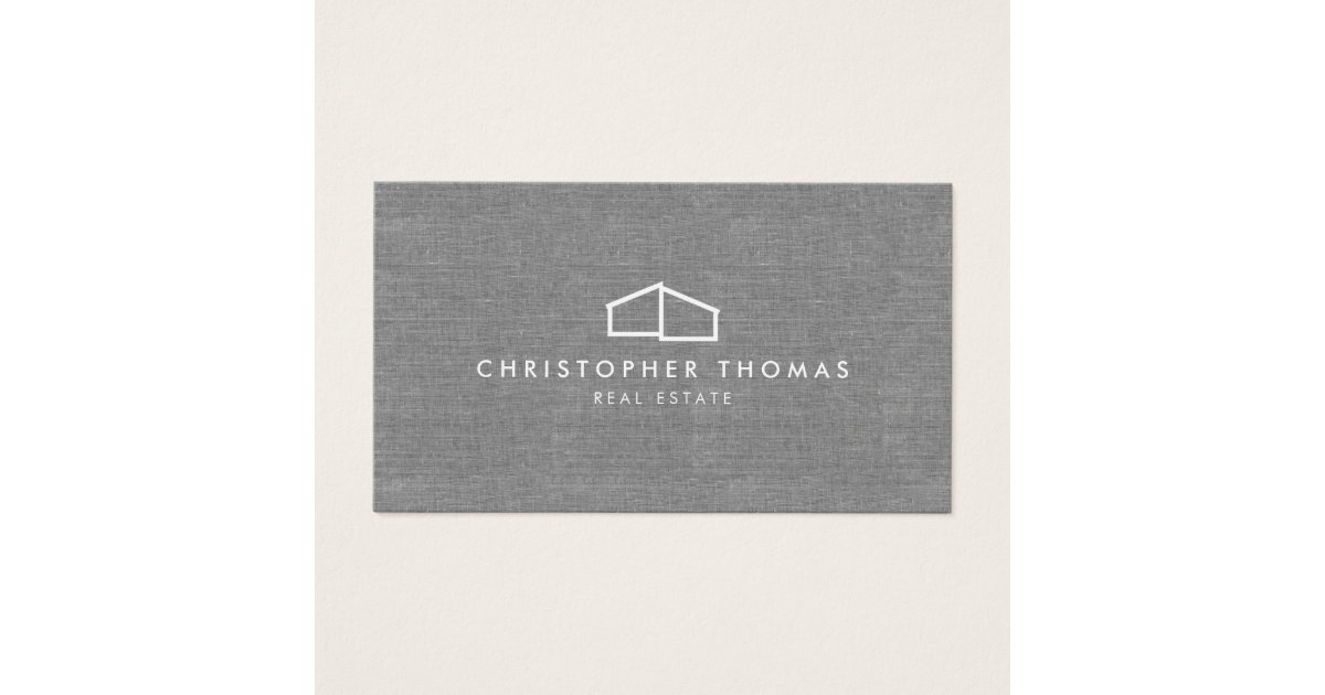 Modern Home Logo on Linen for Real Estate, Realtor Business Card ...