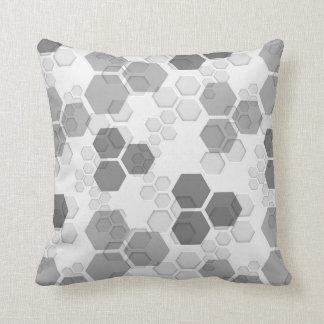 Modern Honeycomb Geometric Design - Shade of Gray Throw Pillow