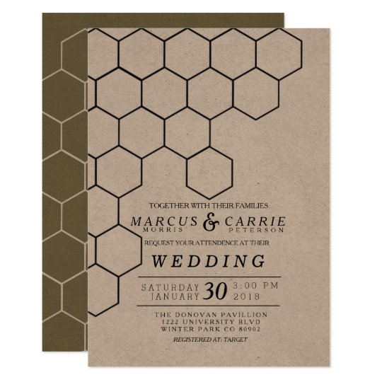 Modern Honeycomb Wedding Card