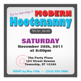 Modern Hootenanny Square Party Invitations