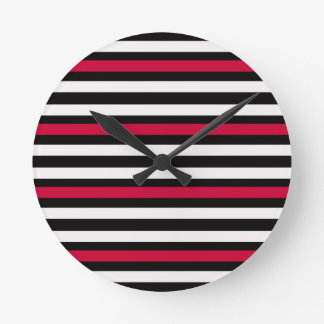 Modern Horizontal BW Red Round Clock