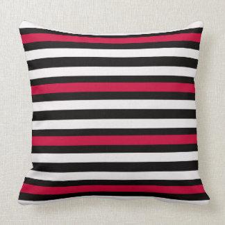 Modern Horizontal BW Red Throw Pillow