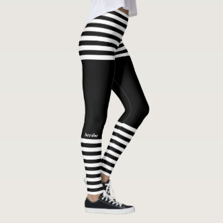 Modern Horizontal Stripes Custom Name Sporty Leggings