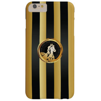 Modern Horse Head Black & Gold Stripes Barely There iPhone 6 Plus Case