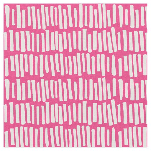 Modern Hot Pink and White Line Pattern Fabric