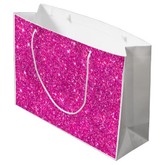 Modern Hot Pink Faux Glitter Pattern Girly Large Gift Bag