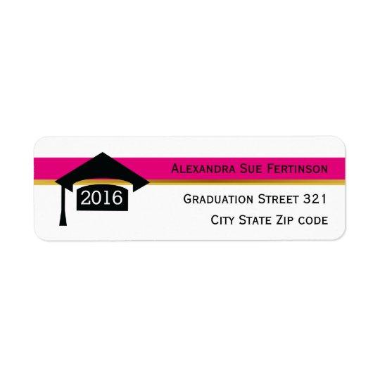 Modern hot pink graduation 2016 cap black, white
