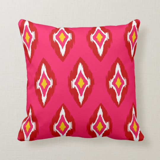 Modern hot pink red yellow Ikat Tribal Pattern 1b Throw Pillow