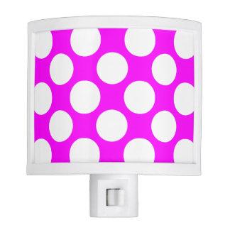 Modern Hot Pink White Polka Dots Pattern Night Lights
