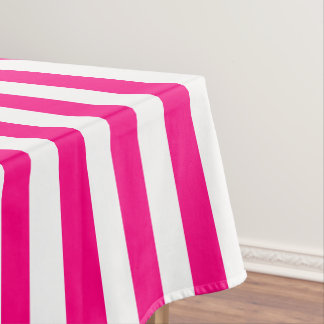 Modern Hot Pink Wide Stripe Tablecloth