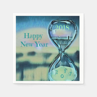 Modern Hourglass Happy New Year 2018 Disposable Napkins