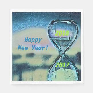 Modern Hourglass Happy New Year 2018 Napkin
