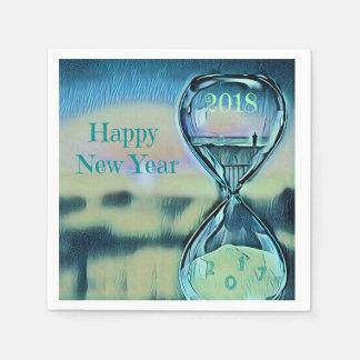 Modern Hourglass Happy New Year 2018 Paper Napkin
