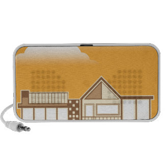 Modern house vector simplistic travelling speakers