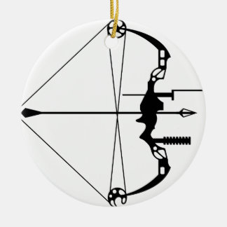 Modern Hunting Bow and Arrow Round Ceramic Ornament