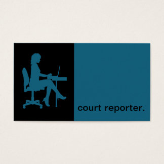 Modern Icon Silhouette court reporter | blue Business Card