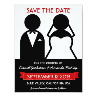 "Modern Icons Save the Date in Black White Red 4.25"" X 5.5"" Invitation Card"