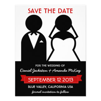 Modern Icons Save the Date in Black White Red Invite