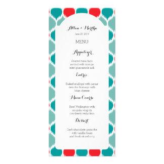 Modern Ikat Weave Turquoise Wedding Menu Full Color Rack Card
