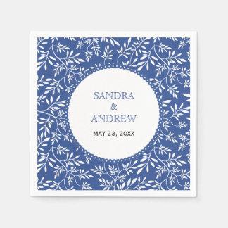 Modern indigo blue white leaves pattern wedding disposable napkins