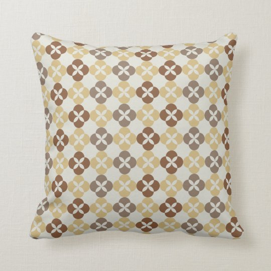 "Modern Indonesia Javanese Batik ""Kawung"" - Mocha Throw Pillow"