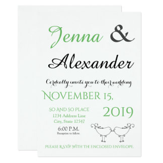 Modern Infinity  Wedding Invite 4- Lovebirds
