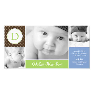 Modern Initial Baby Boy Birth Announcement Picture Card