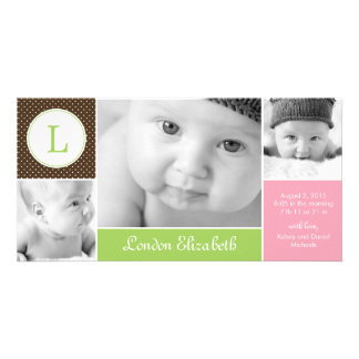 Modern Initial Baby Girl Birth Announcement Personalized Photo Card