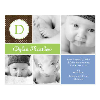 Modern Initial Birth Announcement - Blue Postcard
