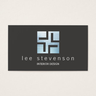 Modern Interior Designer Metallic Geometric Logo Business Card