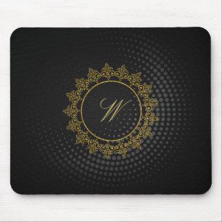 Modern Intricate Monogram on Black Circular Mouse Pad