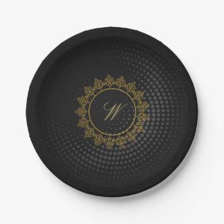 Modern Intricate Monogram on Black Circular Paper Plate