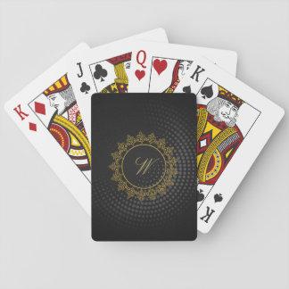 Modern Intricate Monogram on Black Circular Playing Cards