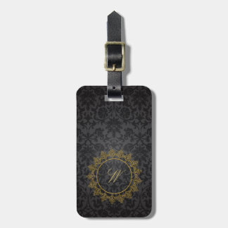 Modern Intricate Monogram on Black Damask Luggage Tag
