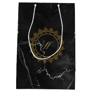 Modern Intricate Monogram on Black Marble Medium Gift Bag